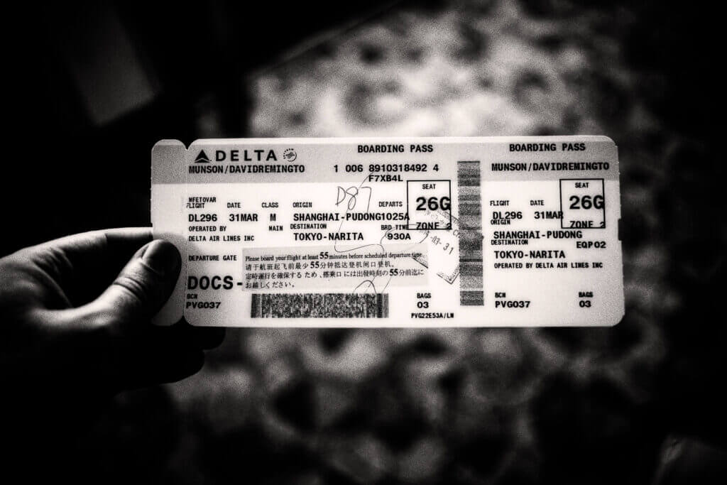 My boarding pass for Delta flight DL296, Shanghai to Narita, on the day I moved to Japan. 2015-03-31