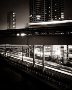 Trains passing at Hamamatsucho Station in Tokyo