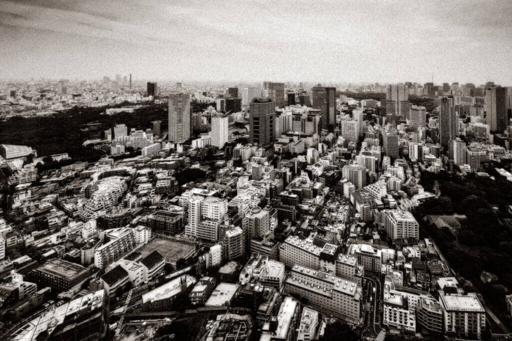 A view of the sprawling city from the 45th floor of a building in Tokyo
