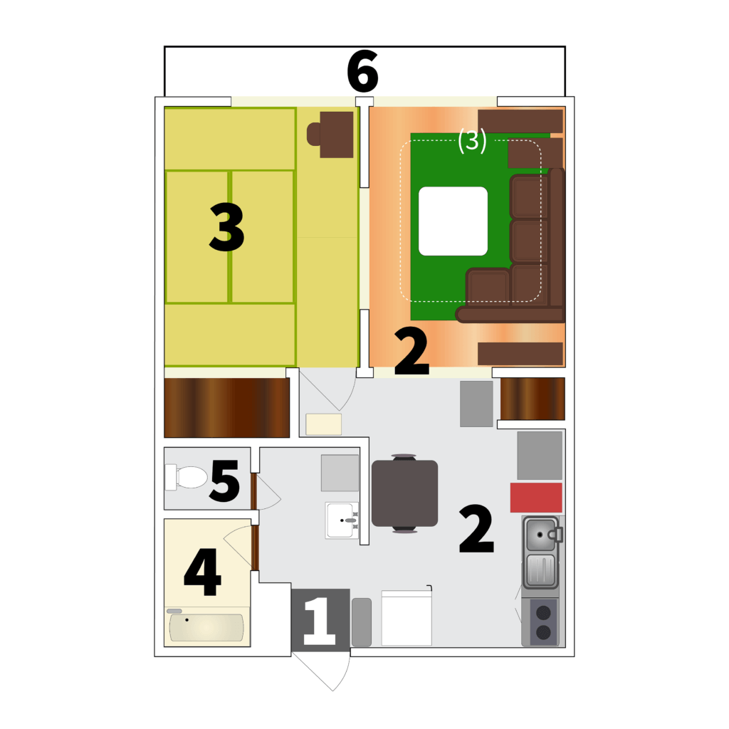 A floor plan of my apartment illustrating the six footwear zones