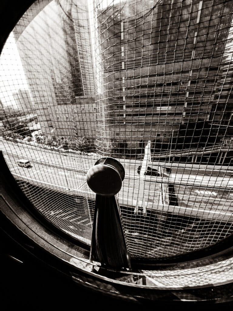 View from the window in a capsule of Nakagin Capsule Tower